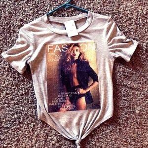 Tops - Opens image gallery Grey-Tie-Front-T-shirt-Junior